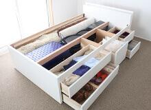 日本製五杯収納ベッド