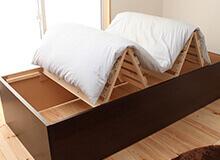布団を干せる桐すのこベッドシングルサイズ