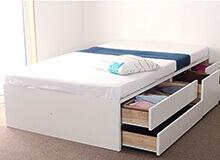 日本製組立簡単五杯収納ベッドヘッドレスタイプ