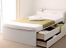 日本製組立簡単五杯収納ベッド棚照明付き